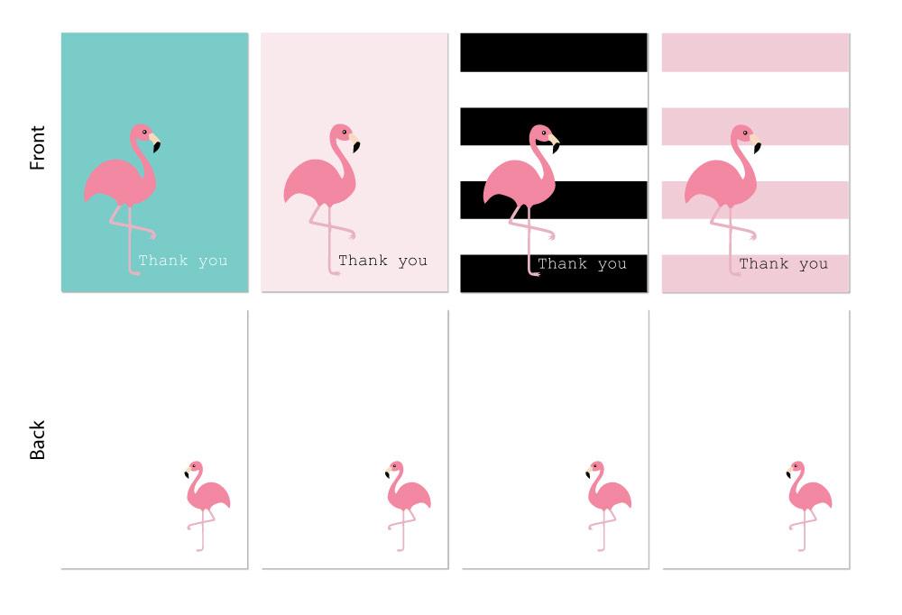 Unique Thank you cards – flamingo design – 24 x A6 cards – 4 colours to  VS41