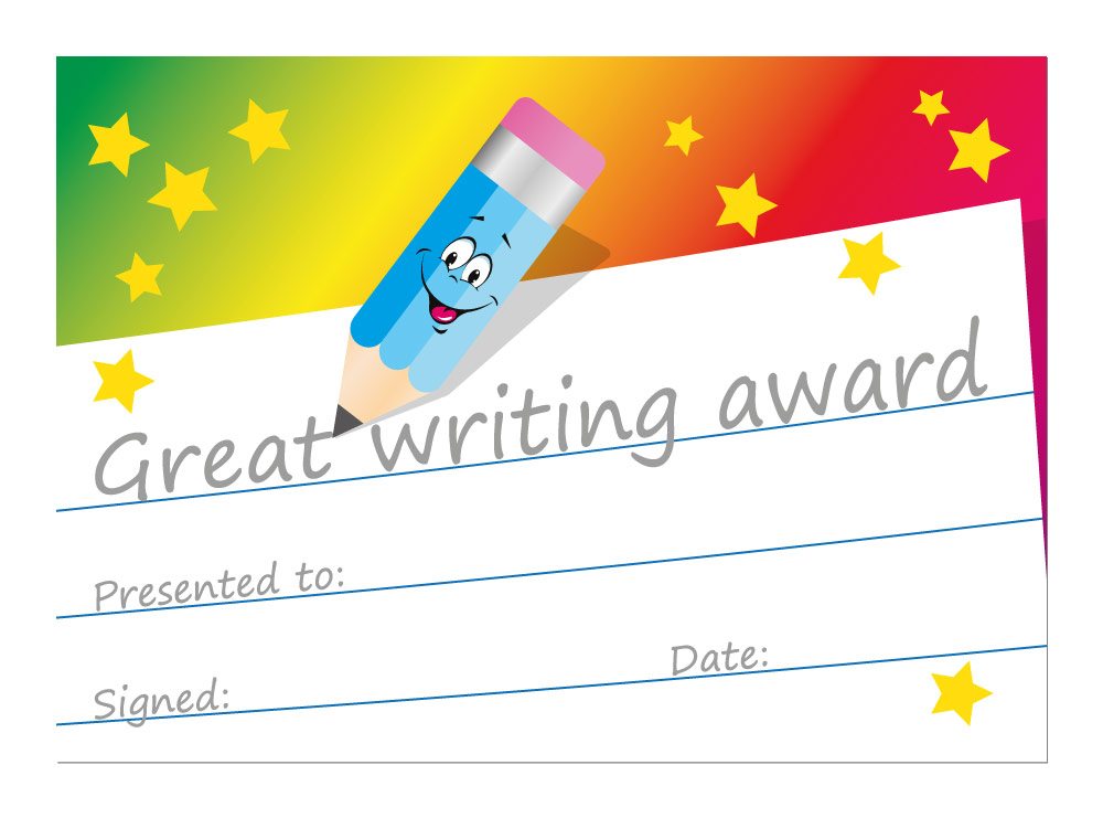 Great Writing Award Certificates 16 X A6 Single Sided