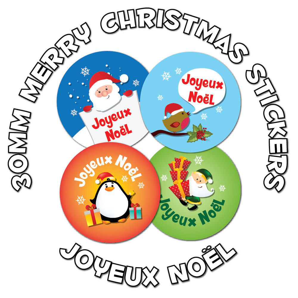 48 x 30mm stickers 39 joyeux no l 39 french language merry christmas schools stickerzone. Black Bedroom Furniture Sets. Home Design Ideas