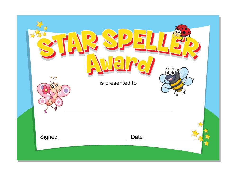Spelling' awards – 16 x A6 cards, Schools,Teachers, kids, cute bug