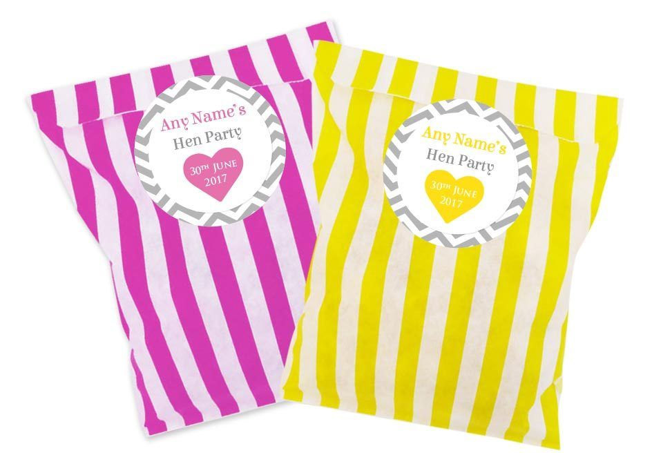 Hen party personalised stickers bags packs of 24 pink or yellow