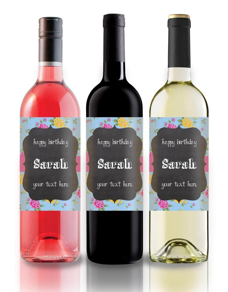 Personalised wine label birthday any occasion blue floral chalkboard effect