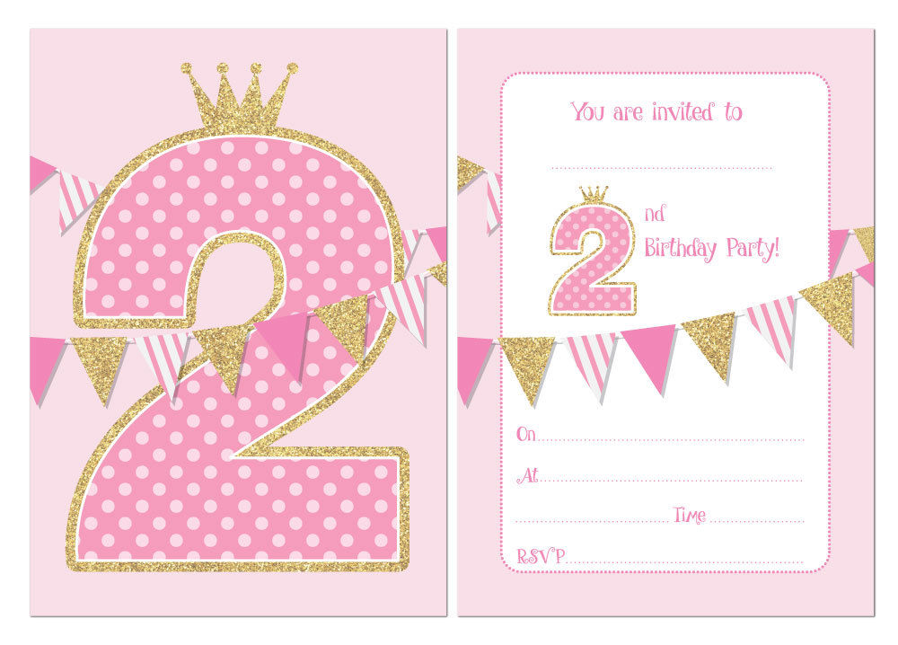 Second Birthday Party Invitations, Pink bunting & faux glitter ...