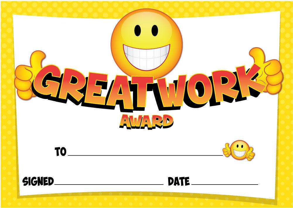great work certificates schools teachers kids blue or yellow