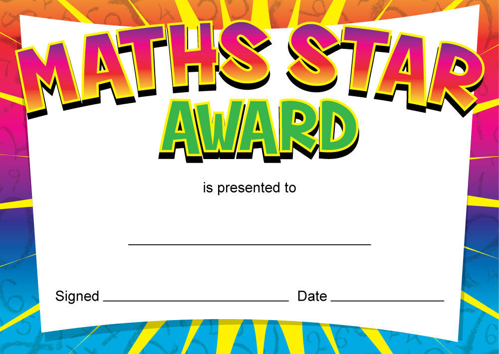 Maths Star\' award certificates, teachers, kids, parents – 16 x A6 ...