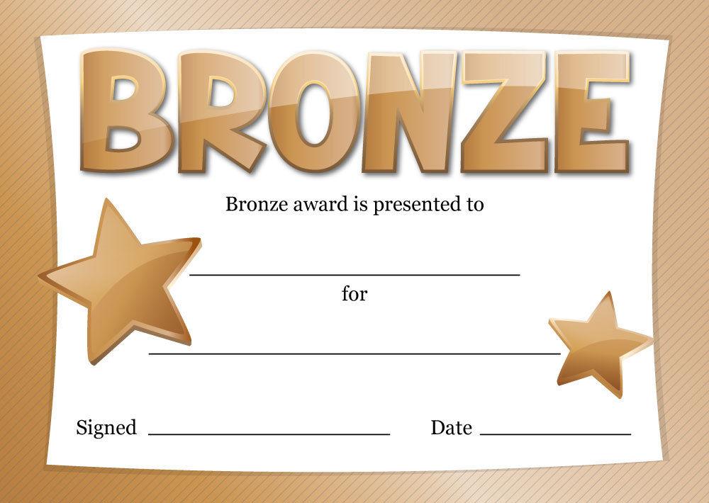 Gold, Silver or Bronze Award Certificates – 16 x A6 – sport, school ...