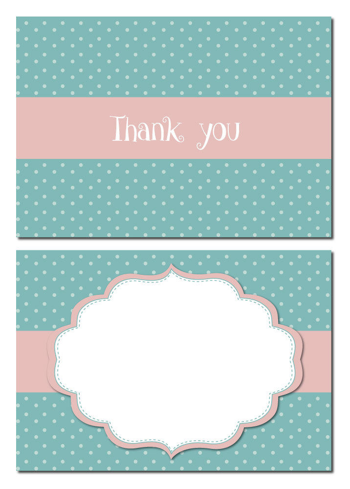 Thank You Cards Polka Dots Shabby Chic 24 X A6 Postcard Size
