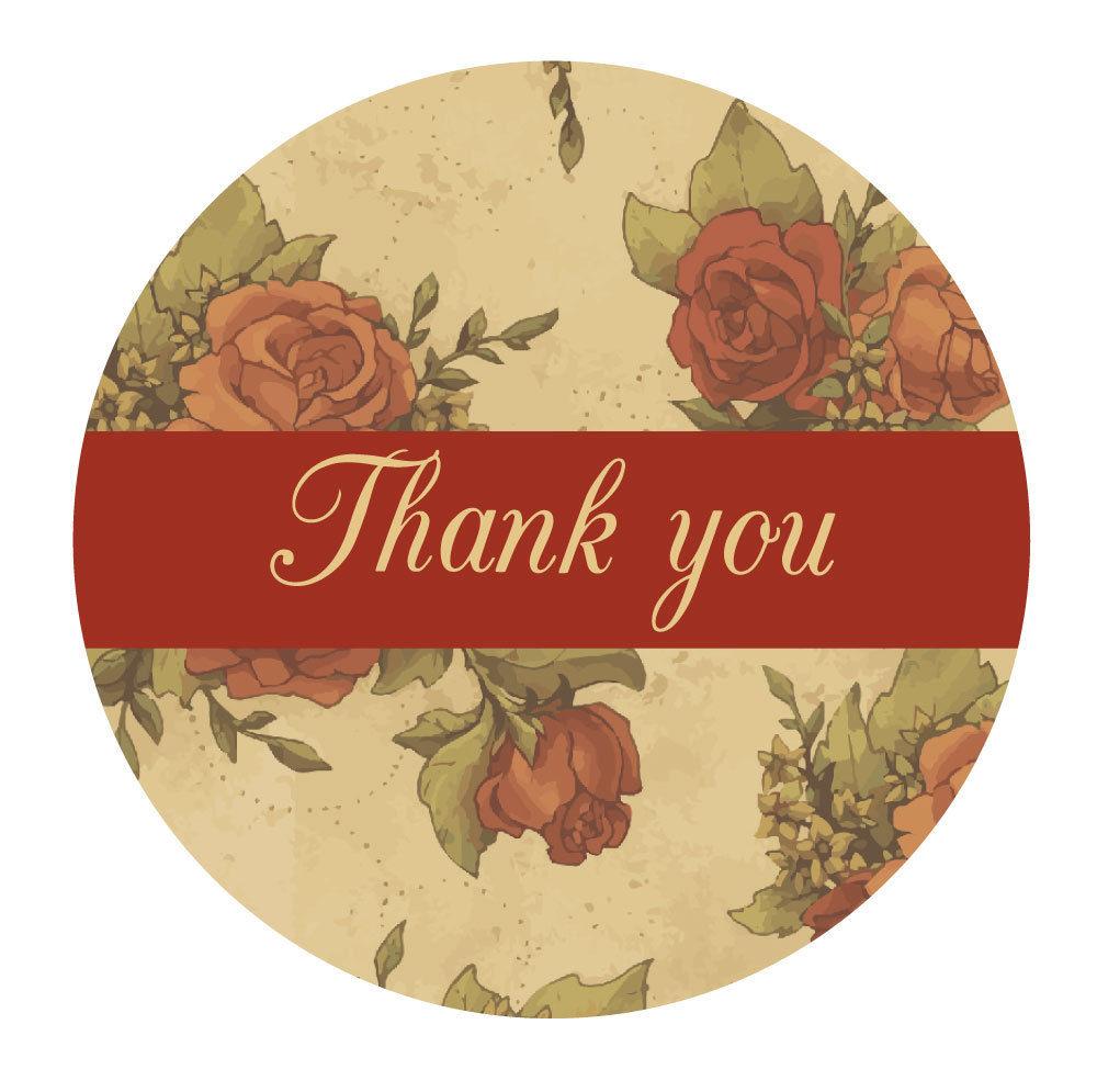 Thank you stickers – Victorian Vintage Rose design – 30mm, wedding ...