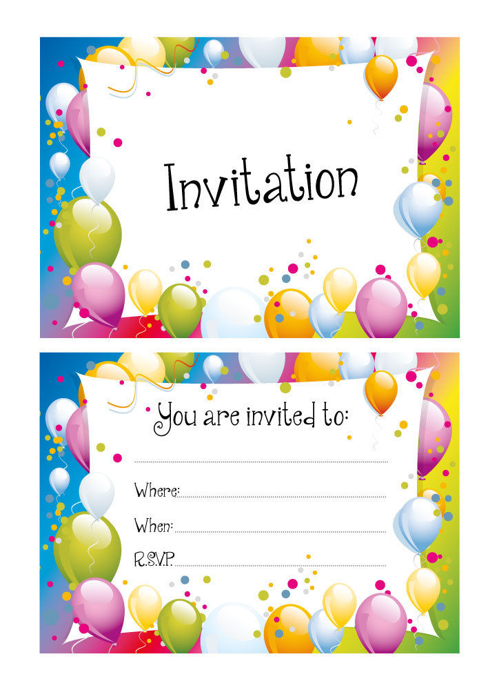 Party Invitations – Party balloons / blue background- 24 x A6 ...