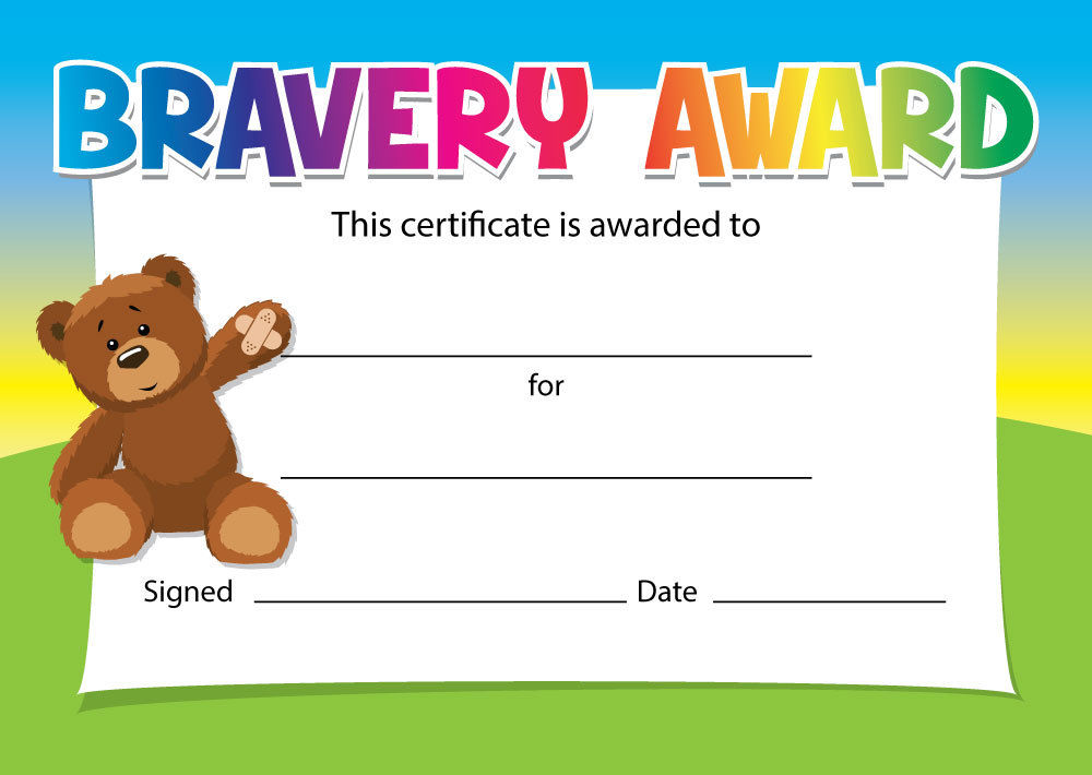 Bravery Certificates Teddy Or Tiger Design 16 X A6
