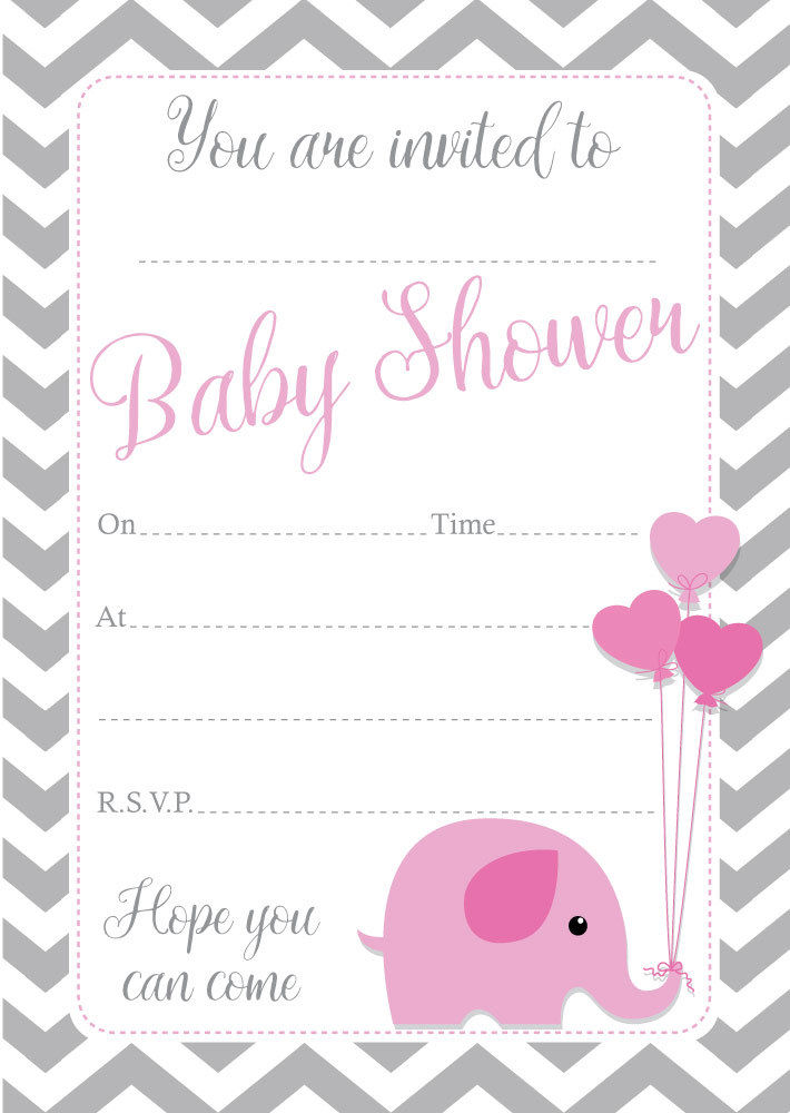 Baby Shower Invitations – \'Baby elephant\' Pack Of 16 – A6,available ...